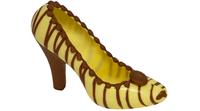 Escarpin blanc à rayures marron