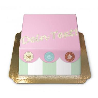 Gâteau coffre à jouets pour bébé (rose)