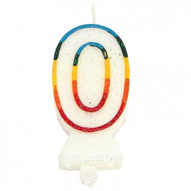 Bougies-chiffre multicolores 0 (env. 7,5 cm)