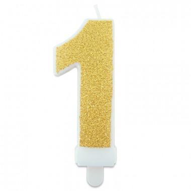 Bougie-chiffre dorée de 0 à 9