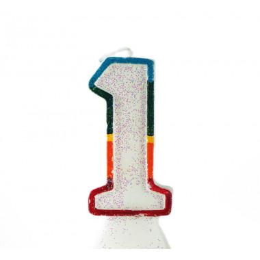 Bougie-chiffre multicolore de 0-9