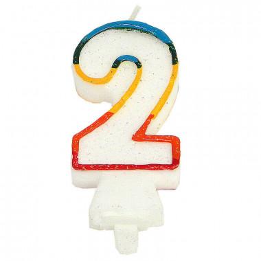 Bougies-chiffre multicolores 2 (env. 7,5 cm)