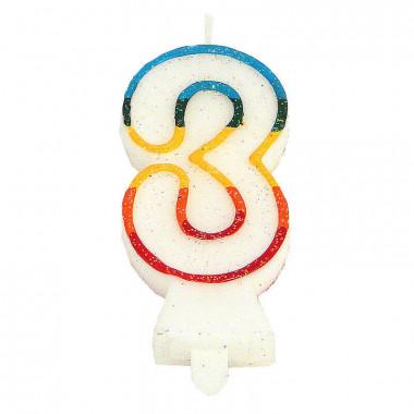 Bougies-chiffre multicolores 3 (env. 7,5 cm)