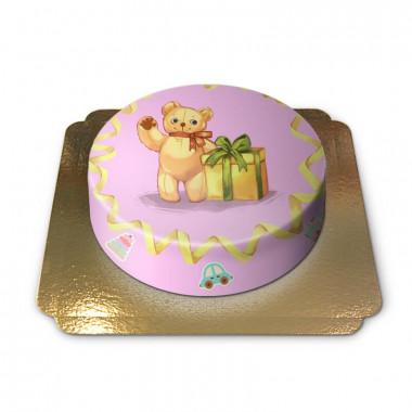 Gâteau Ourson sur fond Rose