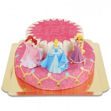 Les 3 princesses en gâteau 2 étages avec rubans