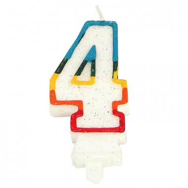 Bougies-chiffre multicolores 4 (env. 7,5 cm)