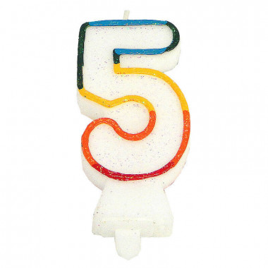 Bougies-chiffre multicolores 5 (env. 7,5 cm)