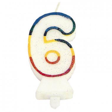 Bougies-chiffre multicolores 6 (env. 7,5 cm)