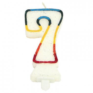 Bougies-chiffre multicolores 7 (env. 7,5 cm)