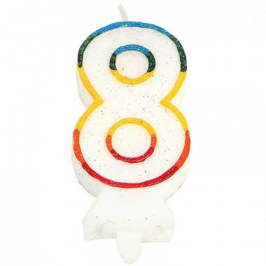 Bougies-chiffre multicolores 8 (env. 7,5 cm)