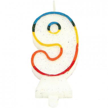 Bougies-chiffre multicolores 9 (env. 7,5 cm)