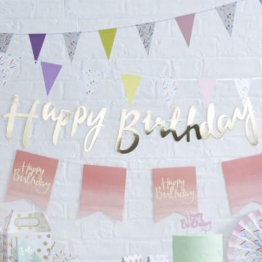 Kit de décoration pour anniversaire pastilles dorées (gâteau non inclus)