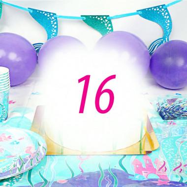 Kit de décoration Sirène pour 16 personnes (gâteau non inclus)