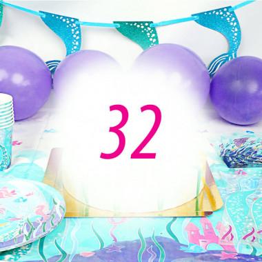Kit de décoration Sirène pour 32 personnes (gâteau non inclus)