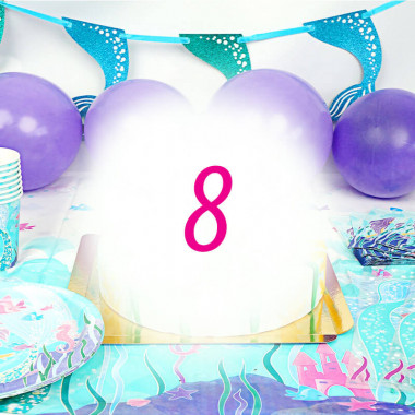 Kit de décoration Sirène pour 8 personnes (gâteau non inclus)