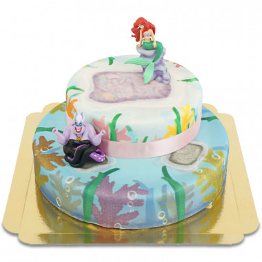 Ariel sur gâteau mer de corail à 2 étages