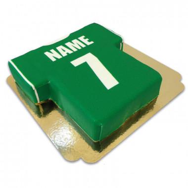 Gâteau maillot de foot, vert et blanc