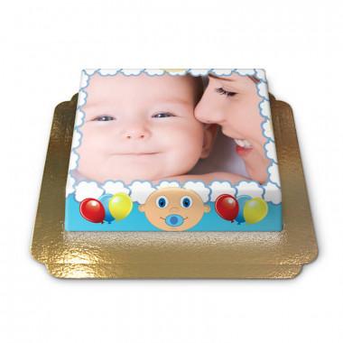 Gâteau-Photo Cadre thème Bébé sur fond bleu