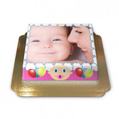 Gâteau-Photo Cadre thème Bébé sur fond rose