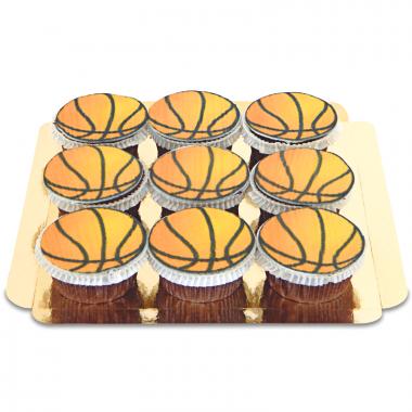 9 Cupcakes Ballons de Basketball