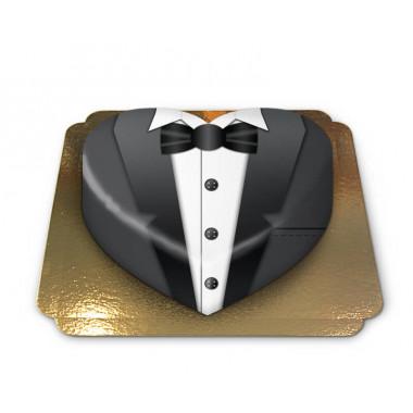 Gâteau Smoking noir en forme de coeur