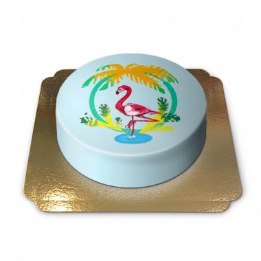 Gâteau Flamant rose sur fond bleu