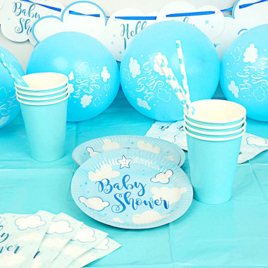 Kit de décoration Baby Shower bleu
