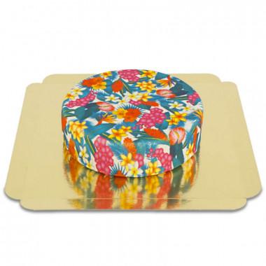 Gâteau de fleurs tropicales bleu