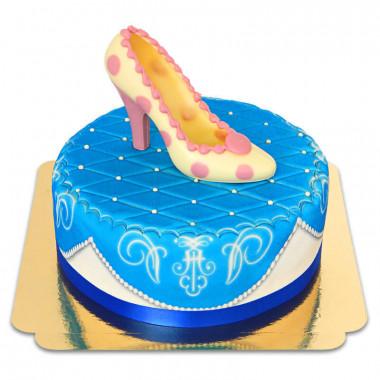 Escarpin en chocolat sur gâteau deluxe bleu
