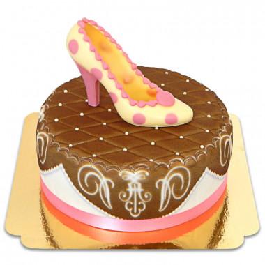 Escarpin en chocolat sur gâteau deluxe marron