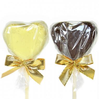 Cake-Pops en forme de coeur chocolat blanc et noir (12 pièces)