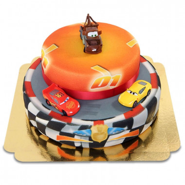 Cars 2 - Flash McQueen, Cruz Ramirez et Martin en gâteau 2 étages