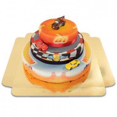 Cars 3 - Flash McQueen, Cruz Ramirez et Martin en gâteau 3 étages avec rubans