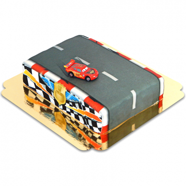Gâteau Cars - Flash McQueen sur circuit