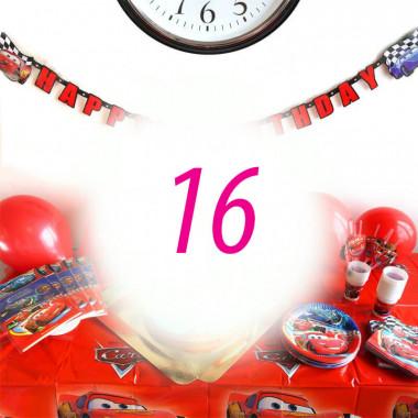 """Kit anniversaire """"Cars"""" - 16 enfants (gâteau non inclus)"""