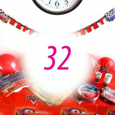 """Kit anniversaire """"Cars"""" - 32 enfants (gâteau non inclus)"""