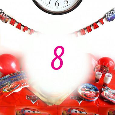 """Kit anniversaire """"Cars"""" - 8 enfants (gâteau non inclus)"""