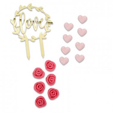 Set de décorations rose Saint Valentin
