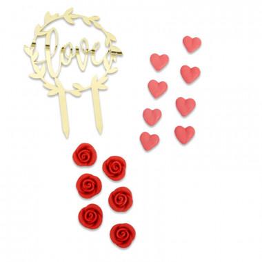Set de décorations rouge Saint Valentin