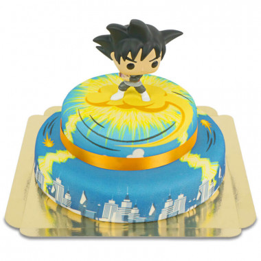 Goku Black de Dragon Ball sur son gâteau ville à 2 étages