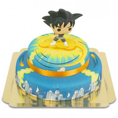 Goku Black de Dragon Ball sur son gâteau ville à 2 étages