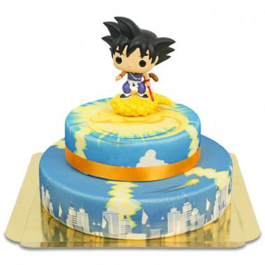 Goku enfant sur son gâteau Kinto-un à 2 étages