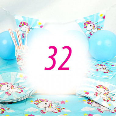 Kit anniversaire Licorne - 32 enfants (gâteau non inclu)
