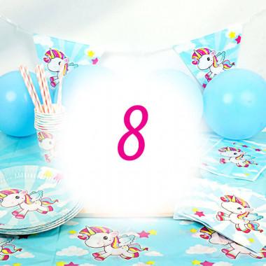 Kit anniversaire Licorne - 8 enfants (gâteau non inclu)