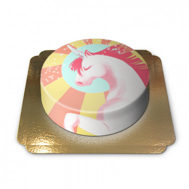 Gâteau Licorne Jaune & Rouge