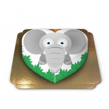 Gâteau-Elephant en forme de coeur