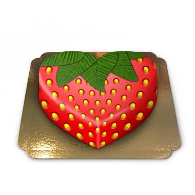 Gâteau fraise en forme de coeur