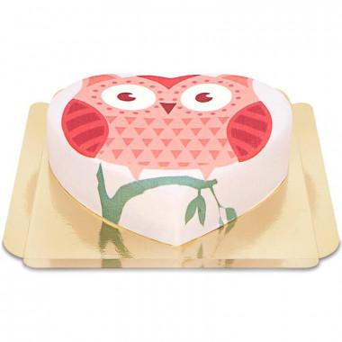 Gâteau hibou en forme de coeur