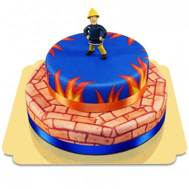 Sam Le Pompier sur son gâteau en flammes