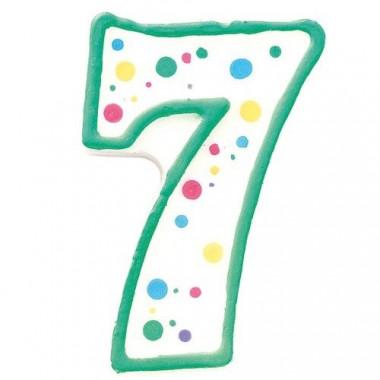Bougie-chiffre verte 7 (env. 7,5 cm)